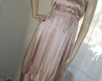 Edwardian Style Replica Champagne Satin Gown Orig Design Size S Wedding