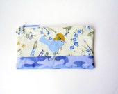 """Zipper Pouch, 5.25x9.25"""" in purple, cream, green, gold, lilac, and periwinkle flowers and art tools, with Handmade Felt Bird Embellishment"""