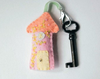 Handmade Wool Felt Key Chain - Key Fob Felt House in Peach and Pink with Peach and Green Embroidered Floral and Beaded Accents