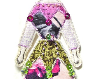 Butterfly Lady Small Flat Doll Ornament Handmade Modern Vintage Look Fabric Doll Decoration Embellished  Textile Art Doll Fabric Ornament