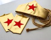 Wonder Woman Accessories by Sugarpuss:  Gold Lasso, Star Headband, & Star Cuffs