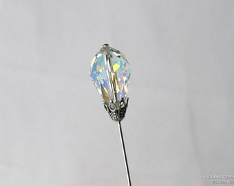 Genuine Swarovski Stick Pin, Large AB Crystal Teardrop, 3 Inch Hat Pin, Boutonniere, Lapel Pin, Scarf Pin, Hijab Pin H0302