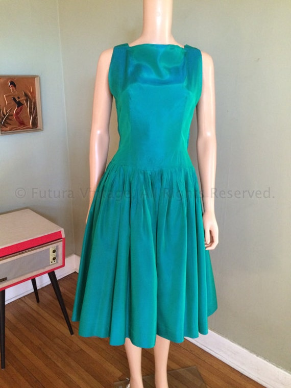 1950s Gorgeous CAROL CRAIG Iridescent Seafoam Green Satin Party Dress with Crinoline-S
