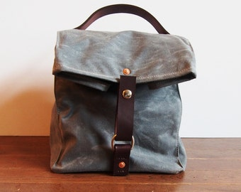 Large Navy Blue Waxed Canvas, Cordura, and Leather Reusable Insulated Lunch Bag
