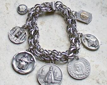 Nuestra Señora...Our Lady...Spanish Themed Vintage JB Sterling Silver Catholic Medal Bracelet
