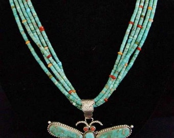 Vintage 1970s Navajo Turquoise Dragonfly 5 Strand Beads Necklace
