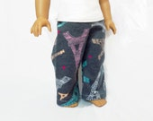 Doll Pajama Pants, 18 Inch Doll Clothes, Eiffel Tower Pajama Pants