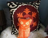Screen Printed Vintage Halloween Owl Pillow