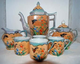 Vintage Japanese Lusterware Tea Set, Butterfly and Flowers Design