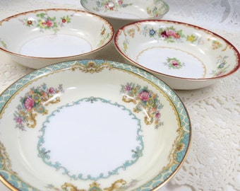 "Set of 4 Mismatched 5"" Dessert Fruit BOWLS, Mix & Match for Vintage Wedding or Tea Party, Shabby Pink Floral, FB13"
