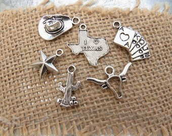 6 I LOVE TEXAS Themed Assorted Charms -Each One Different, Antique Silver - Poker Cards, Cowboy Hat, Lonestar, Cactus, Longhorn Steer