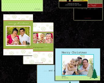 Christmas Templates Layered Photoshop Templates Instant Download Holiday Cards Backs 4 Designs 16 PSD TaraLicious Set1