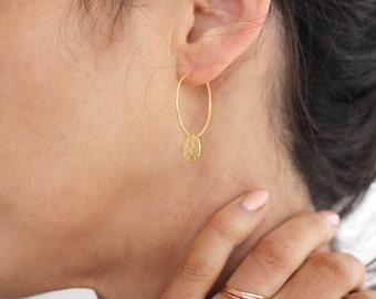 Gold Disc Hoop earrings - classic small gold embellished hoops