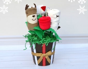 Holiday Baby Gift, Moose Baby Outfit, Winter Baby Clothes, Baby Boy Gift, Baby Christmas Gift, Moose Theme, Unique Baby Gift, Baby Bouquet