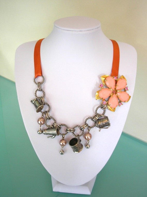 Assemblage Necklace, Statement Necklace, Repurposed Vintage Jewelry, Rustic Jewelry, Barn Wedding, Orange, Bohemian Jewelry, BoHo Jewelry