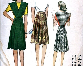 1940s McCall Pattern 4478 *  Misses' Skirt with Detachable Bib * Size 26 Waist
