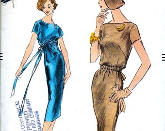 "1950s Vogue  Pattern 8981  - STUNNING  Ladies' Cocktail Evening Slim High Waisted Dress   - Size 14..bust 34 * UNCUT * ""Very easy to make"""