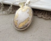Large Oval Locket, Vintage Sterling Silver Locket Necklace, Citrine Necklace, Birthstone Locket November Birthstone, Long Chain Push Present