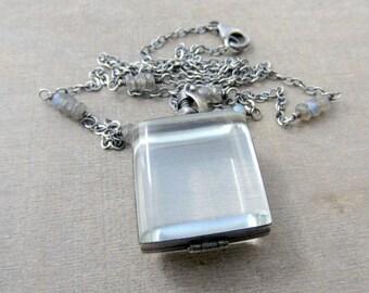 Glass Locket Necklace,Square Locket Jewelry, Sterling Silver Locket Pendant, Keepsake Jewelry, Push Present, Oxidized Silver Locket