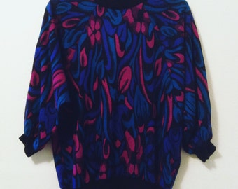 80's Floral Knit Sweater