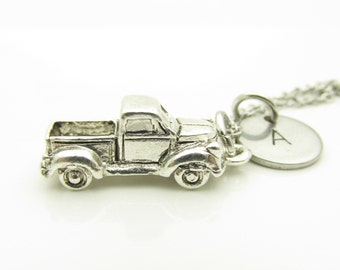 Pickup Truck Necklace, Truck Necklace, Personalized, Stamped Initial Letter, Initial Necklace, Silver Truck Charm, Monogram Necklace Y243