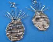 Vintage Large Pineapple Dangle Earrings, Silver Pineapple Dangle Earrings, Cruise Ship Jewelry, Dangle Pineapple Earrings, **USA ONLY**