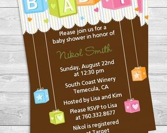 Building Blocks Baby Shower Invitation - Blocks Baby Shower Invite - Brown Baby Shower Invite -Professionally printed *or* DIY printable PDF