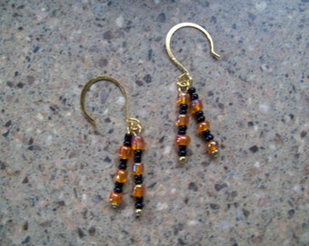 Oregon Beaver or Halloween Colors Spike Dangle Earrings