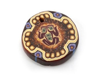 South Western  Disc Pendant, 1pc, 25mm, Vintage Pendants , Polymer Clay
