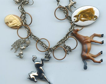 Horse Theme Charm Bracelet Made With Flea Market Treasures