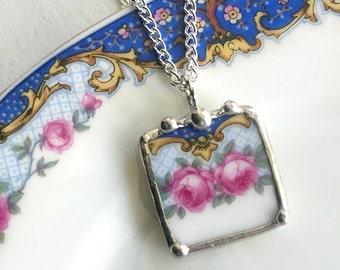 Broken china jewelry. recycled porcelain pendant necklace antique pink roses on blue, made from recycled china
