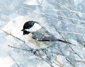 Chickadee in snow watercolor art print, bird painting, 5x7