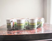 Vintage Cafe Mug Set of 6 Green Stripes on Stoneware Hearthside Buffet Ware No 556  Made in Japan