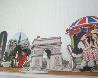 Four Paris Cut Outs,12-16 Inches Tall 1993 Featuring the Eiffel Tower and the Arc de Triomphe