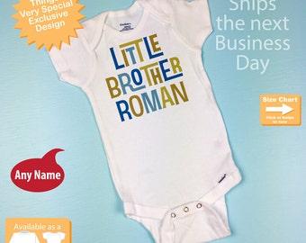 Little Brother Onesie, Little Brother Shirt, Personalized Little Brother Baby Gerber Onesie or Tee Shirt 01162012b