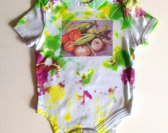 veggies. baby onepiece. colorful hand dyed tie dye onesie. 6 months. baby bodysuit. infant. baby shower. newborn. baby clothes. art.