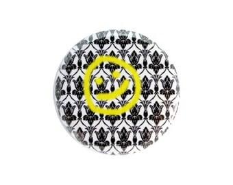 "Sherlock Wallpaper Button, Sherlock Fan Badge, Pinback Button, 1.25"" Button, Smiley Wallpaper Button, Sherlock Bored, F5-2"