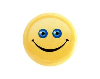 "Geek Button, Blue Eye Happy Face Button, Pinback Button, Small Badge, Funny Face Button, Nerd Button, 1.25"" Button - Y20"