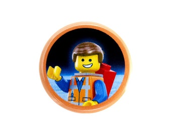 "Emmet Button, Pinback Button, Button with The LEGO Movie (tm) Character, Small Badge, 1.25"" Button - H1-1"