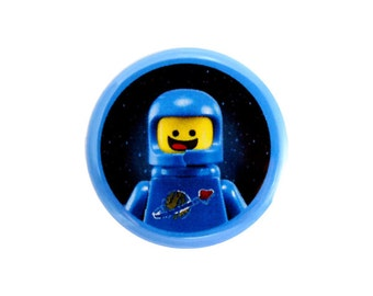 """Benny Button, Pinback Button, Button with The LEGO Movie (tm) Character, Small Badge, 1.25"""" Button - H2-2"""