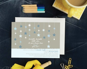 Twinkle, Twinkle Little Star Blue Baby Shower Invitation | Baby Boy Star Shower | Kids' Birthday Party | First Birthday Party Invitation Boy