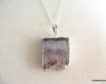 Amethyst Druzy Slab Necklace, Sterling Silver Necklace, Drusy Pendant, Druzy Jewelry