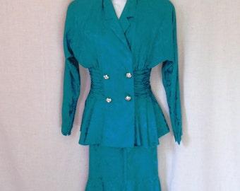 1980s Lillie Rubin turquoise silk two piece dress. Peplum. Rhinestone buttons, Size 6. Shoulder pads.