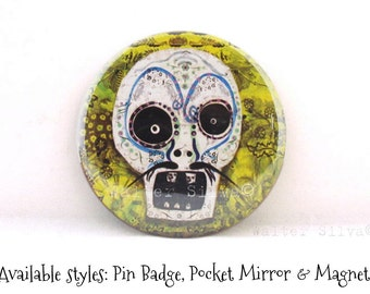 Skull Refrigerator Magnet or Pin Back Button or Pocket Mirror - Day of the Dead Round Magnet - Stocking Stuffer