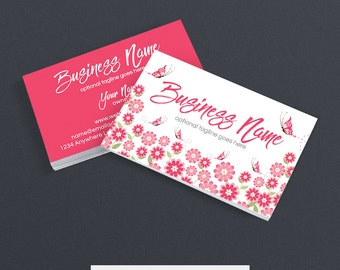 SALE 30% OFF Business Card Designs - Floral Business Card - Butterfly Business Cards - Katrina