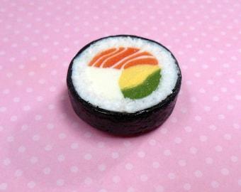 Polymer Clay Salmon Maki Sushi Food Magnet, Food Decor