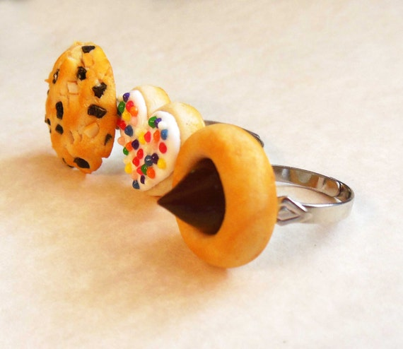 Polymer Clay Cookie Ring Trio Set, Sugar Cookie, Chocolate Macadamia Nut, Peanut Butter Blossom