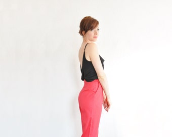 high waist red trousers . classic cherry pant . baggy hip . straight leg .extra small.small.xs