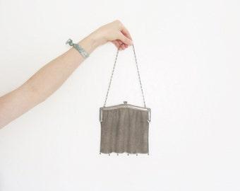 antique chain maille mesh purse . metal edwardian handbag . pendant fringe .sale