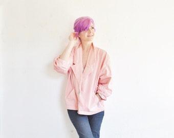 candy striped Esprit jacket . pink white oversized 80s power blazer .medium.large .sale